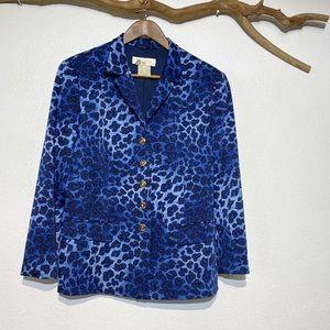 ESCADA Wool Blend Blue Leopard Blazer